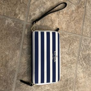 Kate Spade Blue and White Striped Wrsitlet